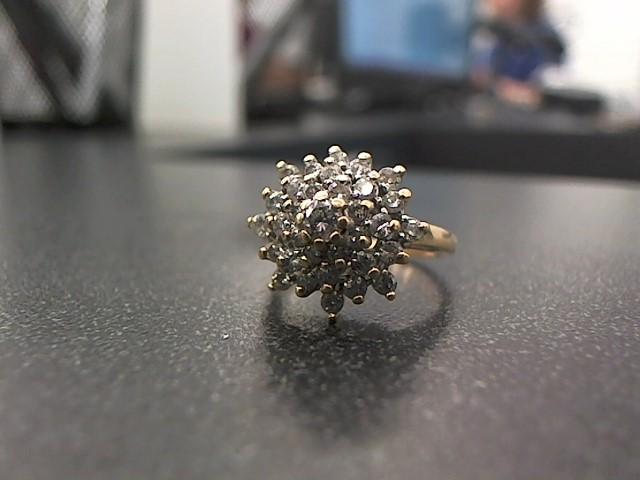 Lady's Diamond Cluster Ring 34 Diamonds .73 Carat T.W. 14K Yellow Gold 4.7g