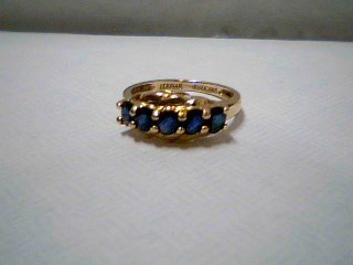 Synthetic Sapphire Lady's Stone Ring 14K Yellow Gold 2.3g Size:5
