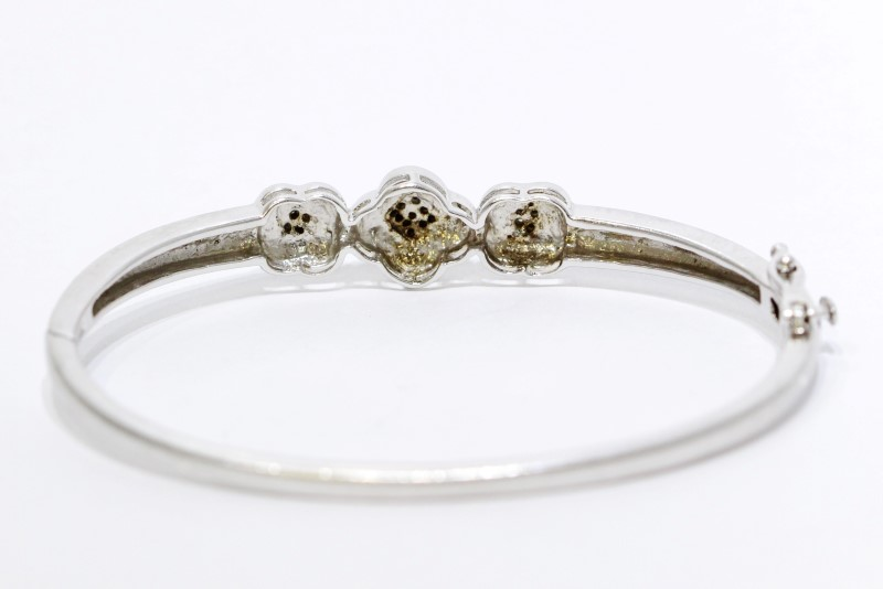 Sterling Silver Two Tone, Textured, Diamond Hinged Bangle Bracelet