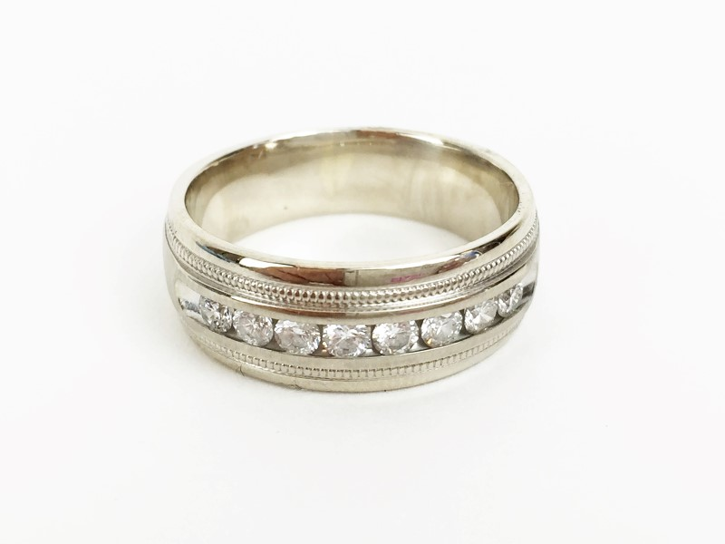 Channel Set Diamond Wedding Band 8 Diamonds .80 Carat T.W. 14K White Gold 8.32g