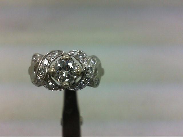Lady's Diamond Fashion Ring 13 Diamonds .65 Carat T.W. 14K White Gold 3.33g