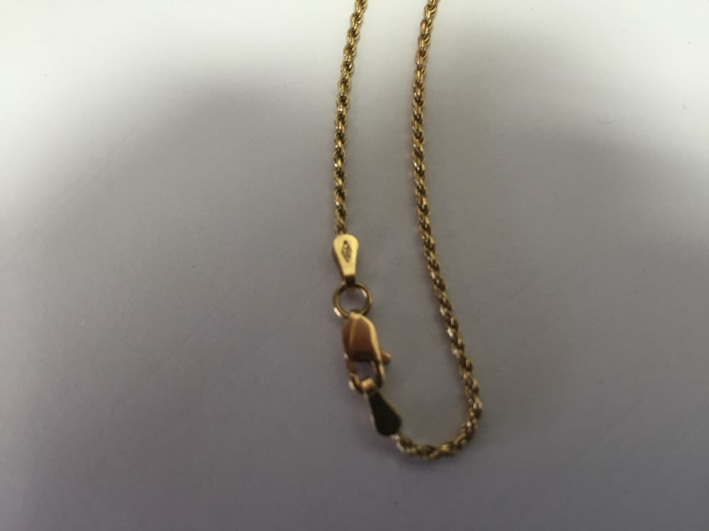 """22"""" Gold Rope Chain 18K Yellow Gold 5.9g"""