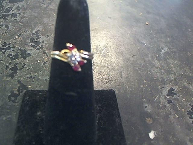 Red Stone Lady's Stone & Diamond Ring .04 CT. 10K White Gold 2.3dwt