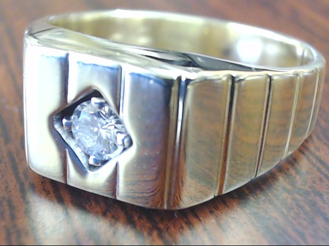 VINTAGE NATURAL DIAMOND SOLITAIRE RING SOLID REAL 14K GOLD SIZE 8.5
