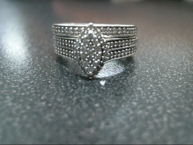 Lady's Silver-Diamond Ring 57 Diamonds .57 Carat T.W. 925 Silver 6g Size:6.5