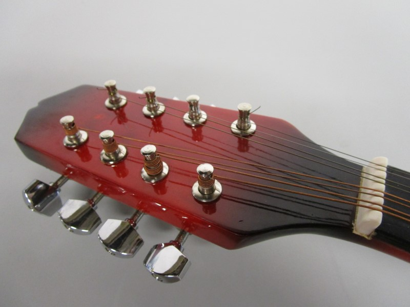 RED MANDOLIN, FOR DECORATION, NOT A FUNCTIONAL INSTRUMENT