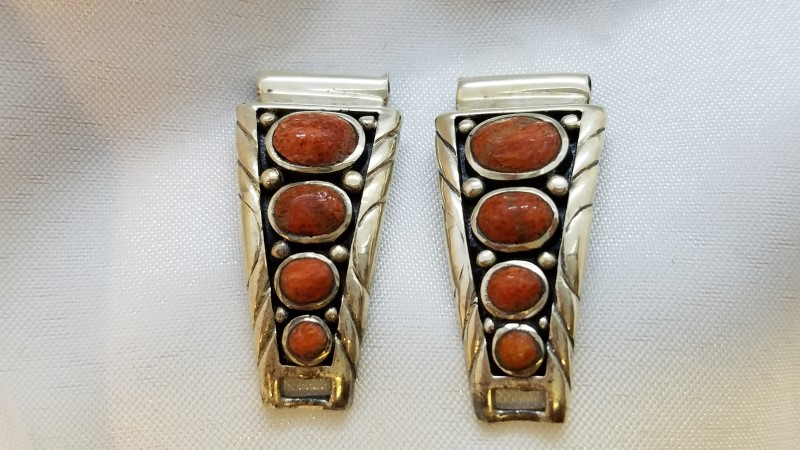Synthetic Coral Silver-Stone Misc. 925 Silver 10.3g