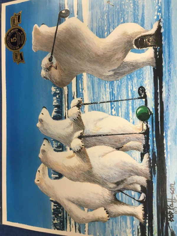 4 POLAR BEARS GOLFING BY BOB PATTERSON