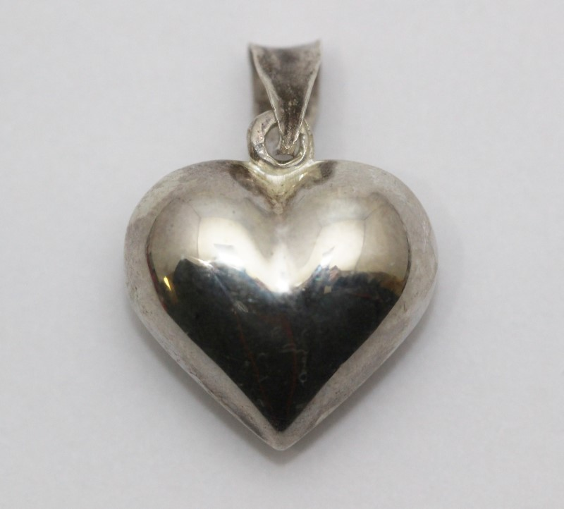 Sterling Silver Polished 3d Puffy Heart Pendant