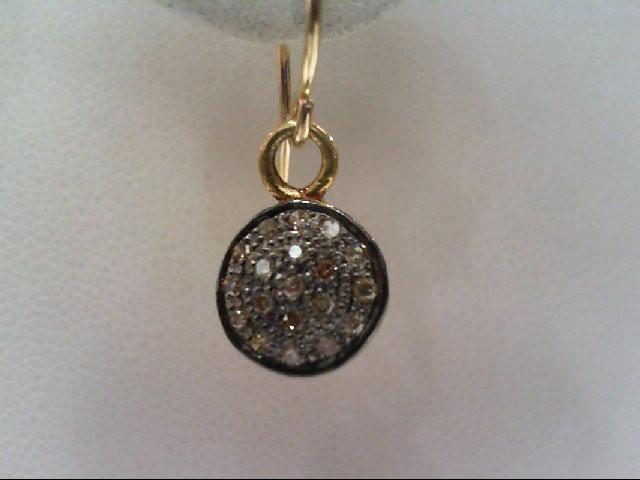 Gold-Diamond Earrings 38 Diamonds .190 Carat T.W. 10K 2 Tone Gold 1.4g