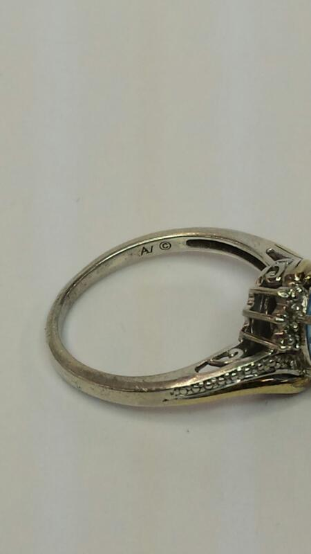 Blue Topaz Lady's Silver & Stone Ring 925 Silver 1.2dwt Size:7