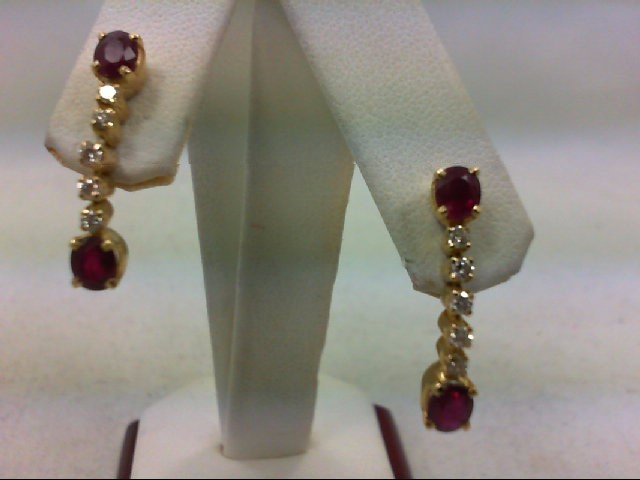 Ruby Gold-Diamond & Stone Earrings 10 Diamonds .50 Carat T.W. 18K Yellow Gold