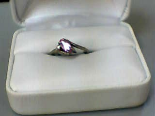 Synthetic Pink Sapphire Lady's Stone & Diamond Ring .01 CT. 10K Yellow Gold