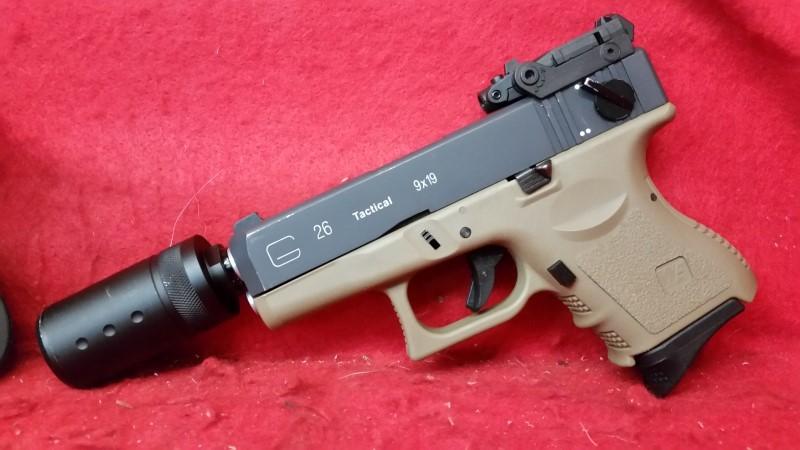WE Tactical Airsoft Glock 26 Pistol w/ Compensator