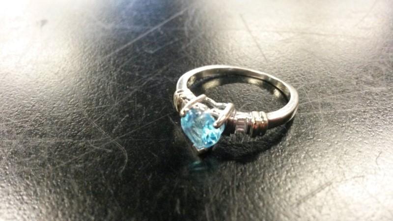BLUE STONE Synthetic Aquamarine Lady's Stone & Diamond Ring