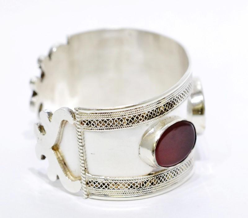 Sterling Silver Large Chunky Swirl Red Enamel Cuff Bracelet