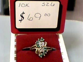 Synthetic Emerald Lady's Stone Ring 10K Yellow Gold 2.1dwt Size:6