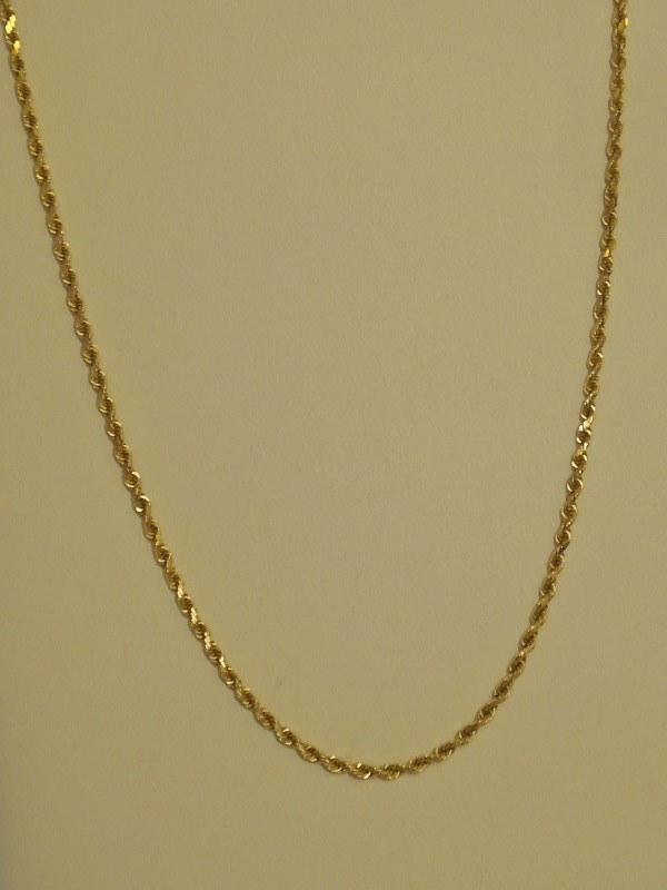 """20"""" Gold Rope Chain 14K Yellow Gold 5.4g"""