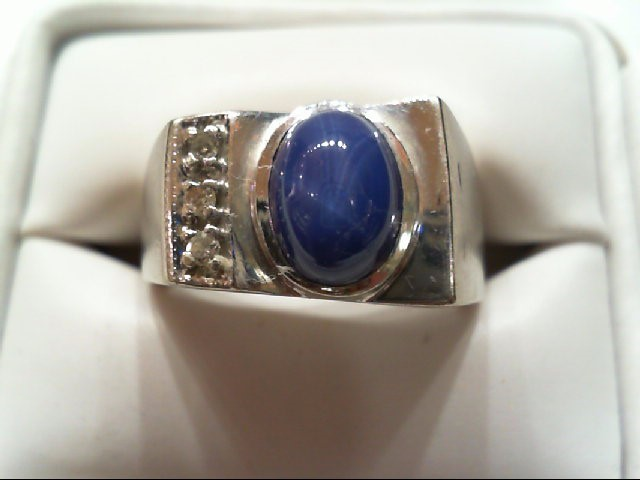 Gent's Diamond Fashion Ring 3 Diamonds .03 Carat T.W. 14K White Gold 9.3g
