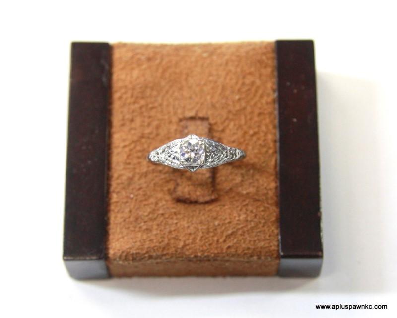 Lady's Diamond Engagement Ring .50 CT. 18K White Gold 1.6dwt