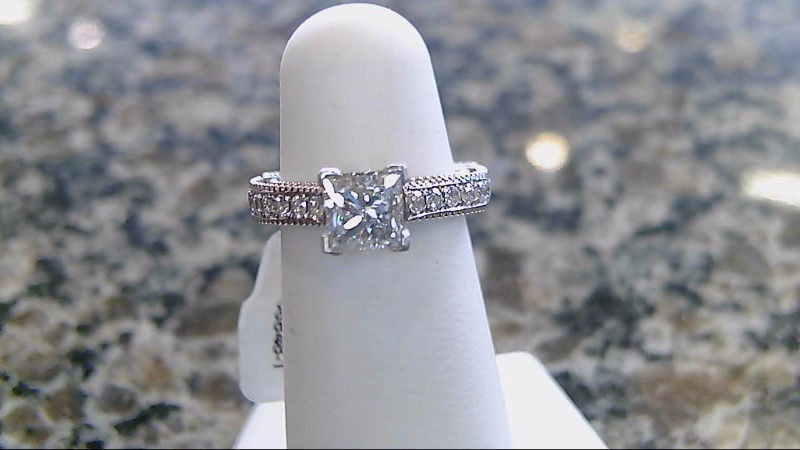 Lady's Diamond Engagement Ring 3/4ct princess 18K White Gold 4.9g