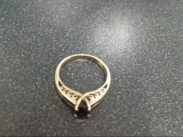 Blue Stone Lady's Stone Ring 10K Yellow Gold 2.2g Size:7