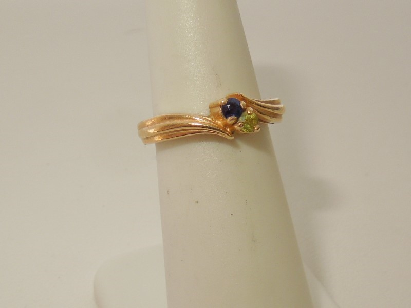 Synthetic Sapphire Lady's Stone Ring 14K Yellow Gold 3.8g