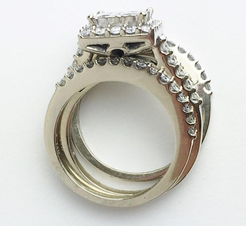 LADIES 14K WG 3 PIECE DIAMOND WEDDING SET APX 2.30CTW SIZE 7
