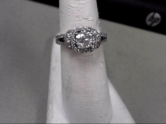 Lady's Diamond Solitaire Ring 59 Diamonds 1.08 Carat T.W. 14K White Gold 4.6g
