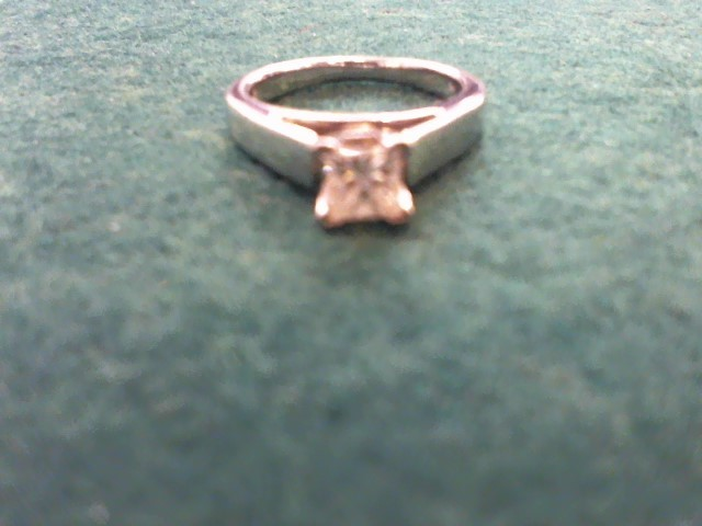 Lady's Diamond Solitaire Ring .55 CT. 14K White Gold 3.7g Size:4