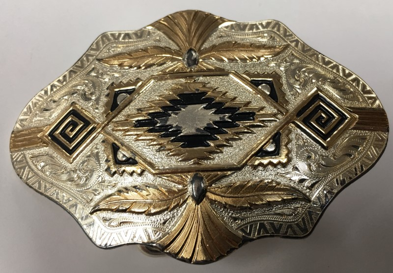 """MT SILVERSMITH'S DECORATIVE BELT BUCKLE, 2"""" x 3"""", TWO-TONE SILVER AND COPPER"""