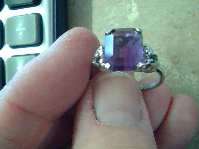 Purple Stone Lady's Silver & Stone Ring 925 Silver 3.2g Size:7