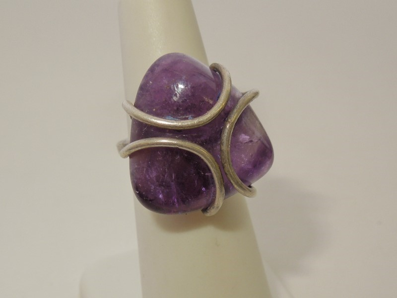 Synthetic Amethyst Lady's Silver & Stone Ring 925 Silver 8.6g Size:5