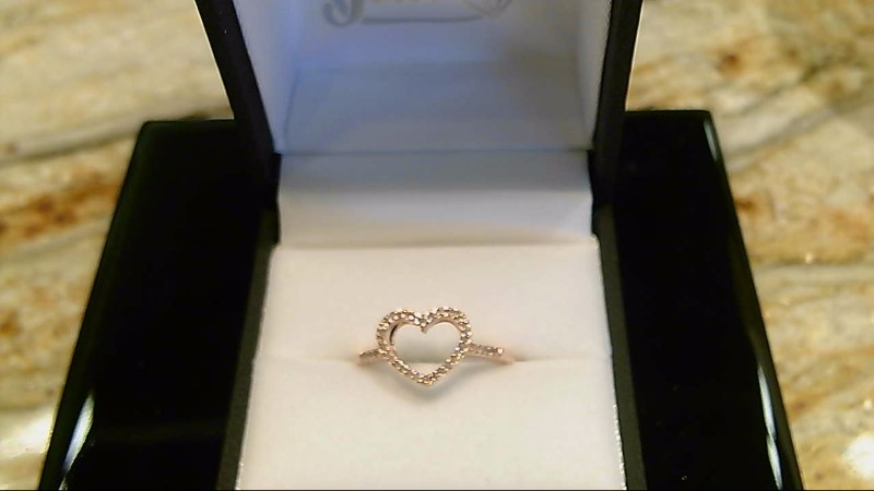 Lady's sterling silver 925-rose gold overlay round diamond heart ring sz 7