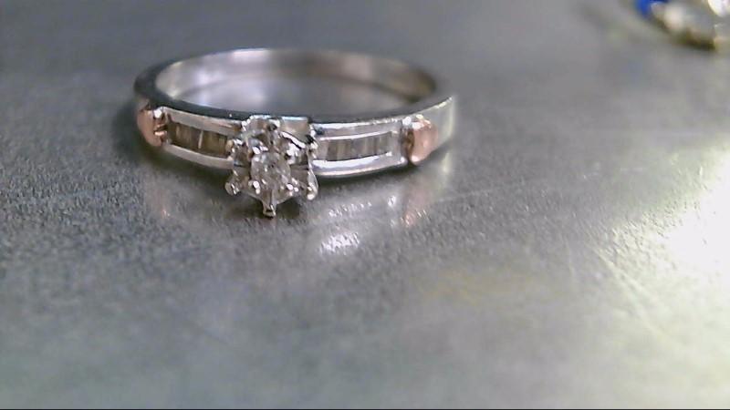 Lady's Diamond Engagement Ring 11 Diamonds .12 Carat T.W. 10K 2 Tone Gold 2.3g