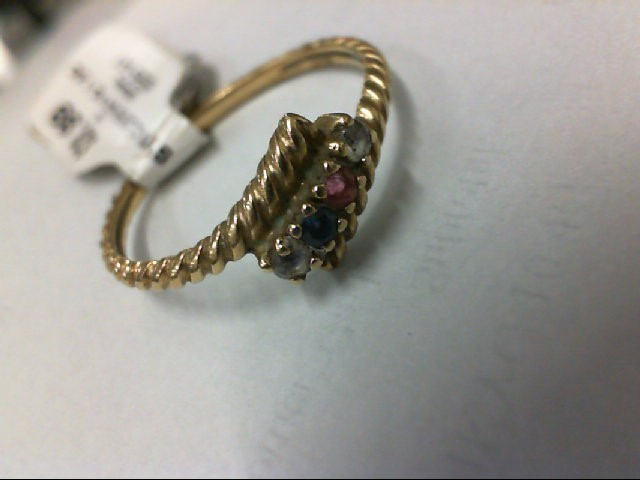 Synthetic Cubic Zirconia Lady's Stone Ring 10K Yellow Gold 1.5g