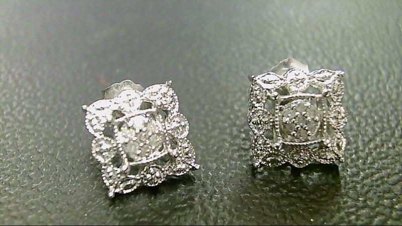 Gold-Diamond Earrings 14 Diamonds .14 Carat T.W. 10K White Gold 2g