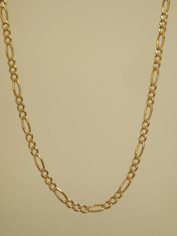 """24"""" Gold Figaro Chain 14K Yellow Gold 8.8g"""
