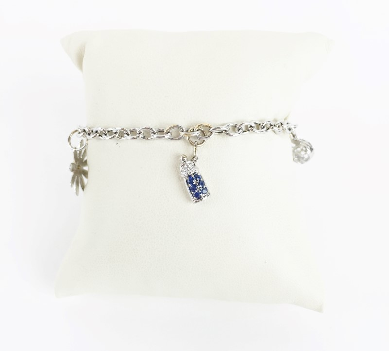 "Charm Bracelet with Sapphire & 14K White Gold 6.18g 7"""