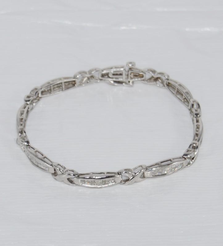 """10K White Gold Invisible Set Princess Diamond X O Style Tennis Bracelet 7"""""""