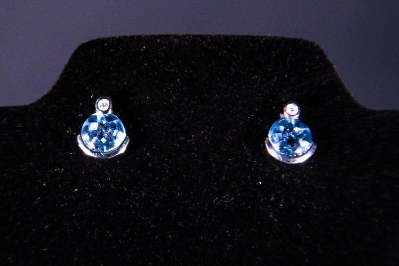 Synthetic Aquamarine Gold-Diamond & Stone Earrings 2 Diamonds .02 Carat T.W.