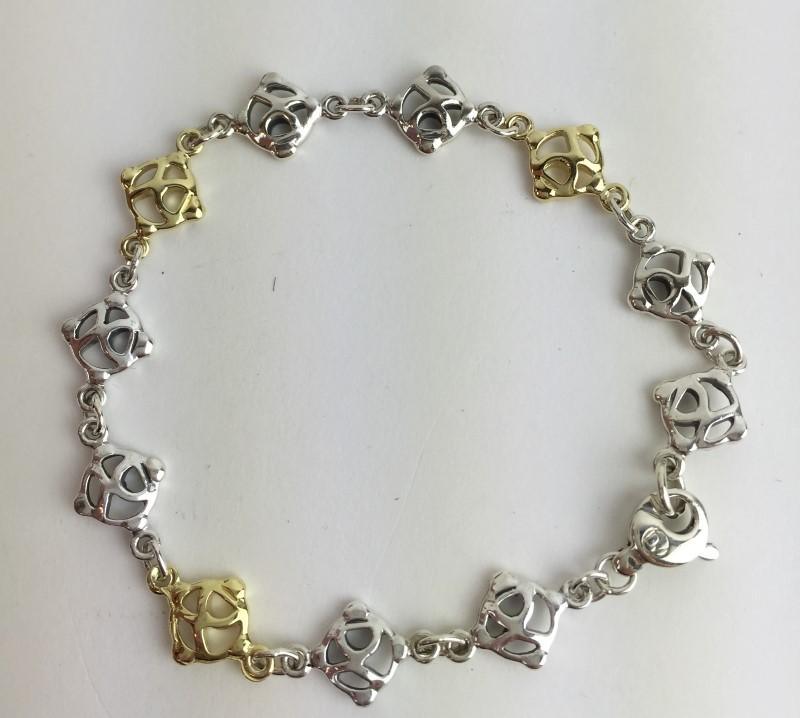 David Yurman 18kt Gold & Sterling Silver Link Bracelet 10.4g