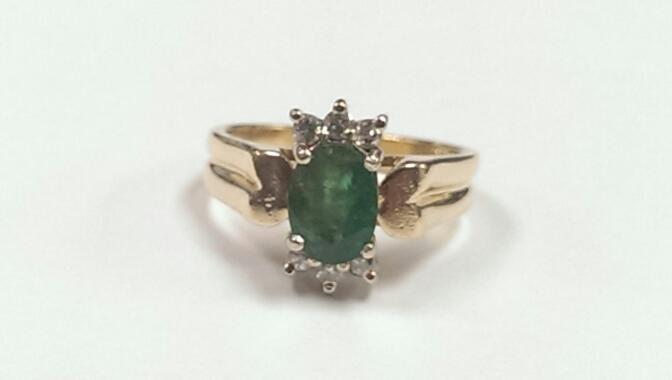 Emerald Lady's Stone & Diamond Ring 6 Diamonds .12 Carat T.W. 14K Yellow Gold