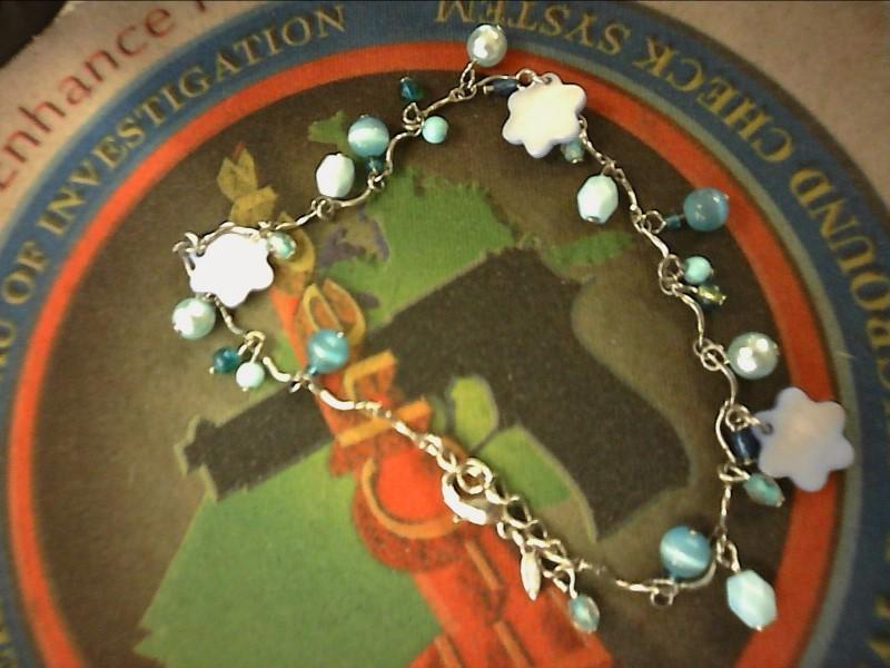 """10"""" BRACELET: 4.97DWT, BLUE BEADED BRACELET - CATS EYE, SHELL FLOWER BEADS AND P"""
