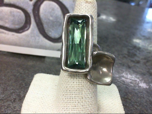 Green Stone Lady's Silver & Stone Ring Silver Plate 19.7g Size:7