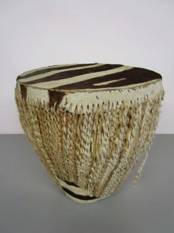 AFRICAN HAND DRUM, ZEBRA HIDE AND SINEW, WORLD PERCUSSION