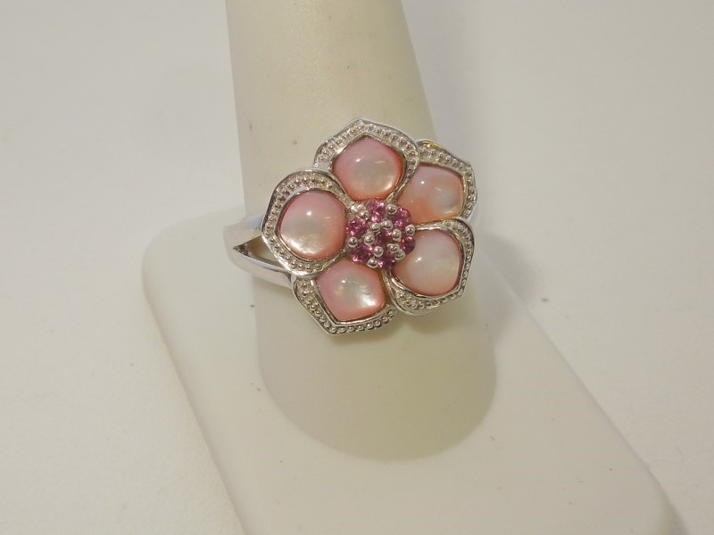 Synthetic Mother Of Pearl Lady's Silver & Stone Ring 925 Silver 7.1g Size:10