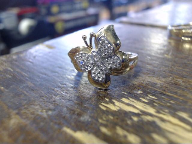 Lady's Diamond Cluster Ring 16 Diamonds .16 Carat T.W. 10K 2 Tone Gold 3.2g