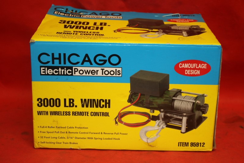 Chicago Electric 3000lbs 12V Electric Recovery Winch ATV,UTV Wireless Remote