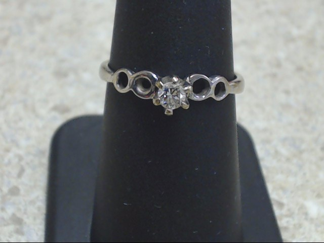 VINTAGE DIAMOND SOLITAIRE RING SOLID REAL 14K WHITE GOLD ENGAGE SZ 8